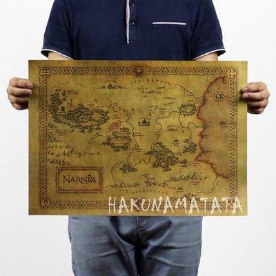 【貼貼屋】納尼亞傳奇地圖 經典電影 懷舊復古 牛皮紙海報 壁貼 店面裝飾 交換禮物 432