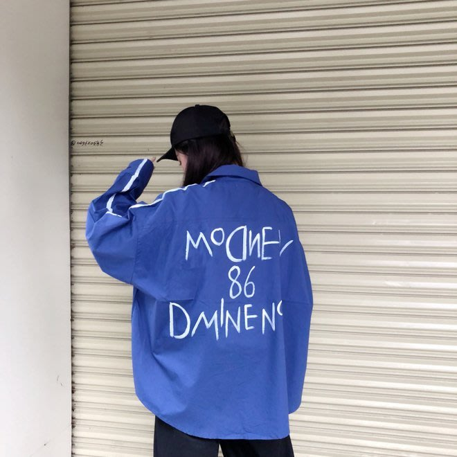 FINDSENSE G6 韓國時尚潮流 2019春季新款POLO領手繪字母印花長袖襯衫情侶裝男女同款簡約襯衣女裝上衣
