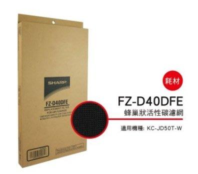 SHARP 夏普蜂巢狀活性碳濾網 FZ-D40DFE 適用機種型號:KC-JD50T-W 公司貨附發票