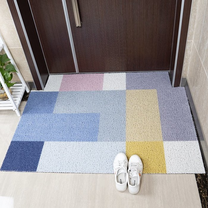北歐簡約色塊地墊進門家用pvc裁剪入戶門口玄關蹭灰腳墊門墊