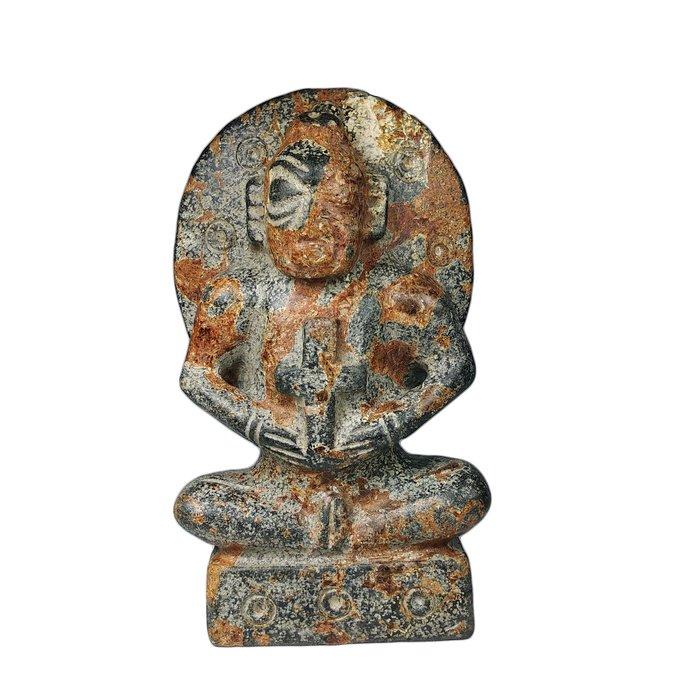 《博古珍藏》紅山文化遺物.隕石太陽神持十字架擺件.3.21公斤.皮殼厚實.收藏多年.感恩特賣會.超值回饋