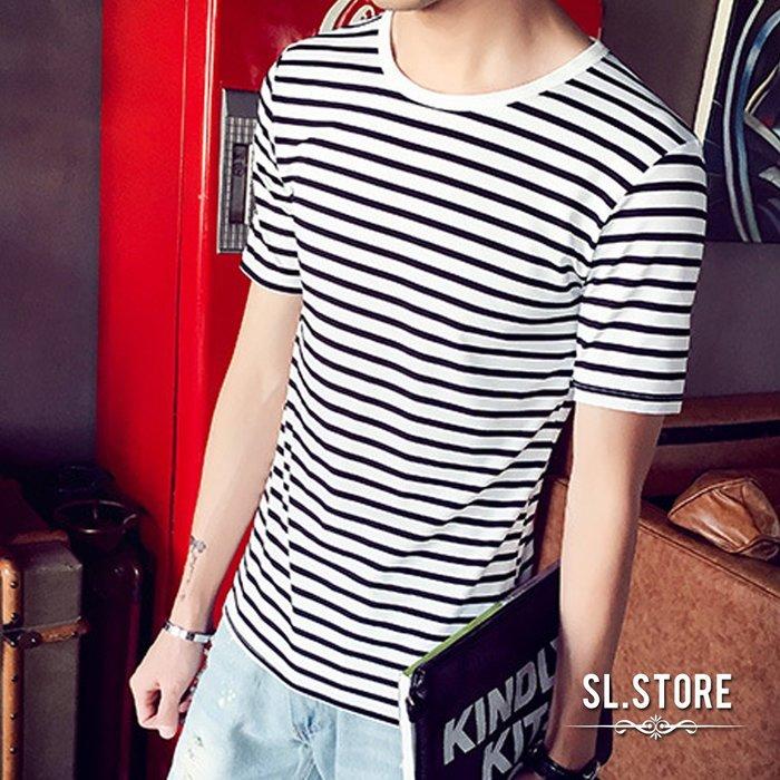 SL Store【CST940】日韓簡約條紋圓領短袖T恤.黑/白/L/XL/2XL