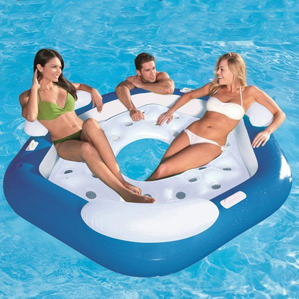 5Cgo【批發】含稅會員有優惠 520177488053 成人水上浮床3人水上浮椅休閑娛樂充氣游泳池沙灘靠背躺椅充氣床