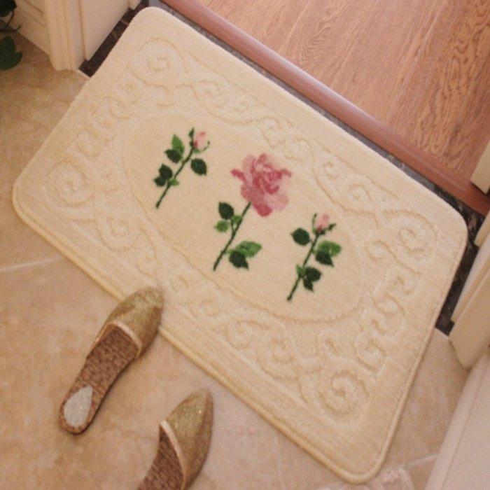 粉紅玫瑰精品屋~米色玫瑰植絨防滑地墊田園風格脚踏墊~60*90公分