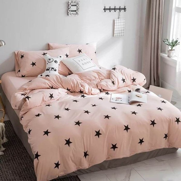 【Little Bed 小床】棉T素材/萊卡運動棉/粉星星【41A】雙人加大床包(6*6.2)四件組