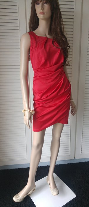♡karen millen♡胭脂紅絲緞抓皺性感曲線洋裝