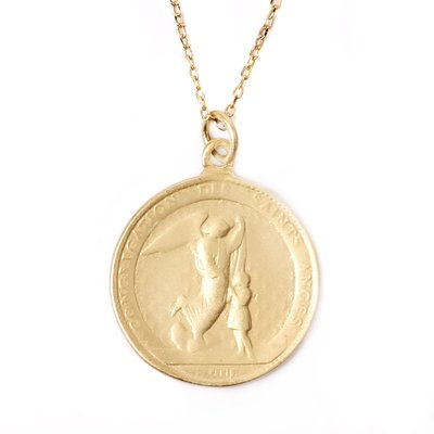 Lissom韓國代購~S925 Plated Gold Angel exorcism 純銀天使驅魔項鍊男女鎖骨鍊