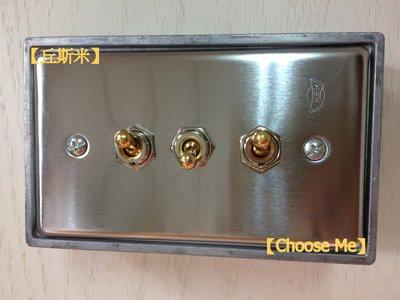 【丘斯米 Choose me】工業風  復古  開關插座  不鏽鋼  三孔  上下開關  黃銅短臂  MIT  CE認證