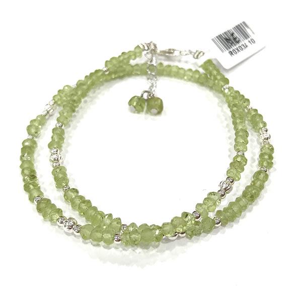 『天然水晶量販』天然橄欖石 特級 雙圈純銀手鍊 約4mm 鑽石切角度 半寶石 招財 幸運 希望 禮物 附禮盒