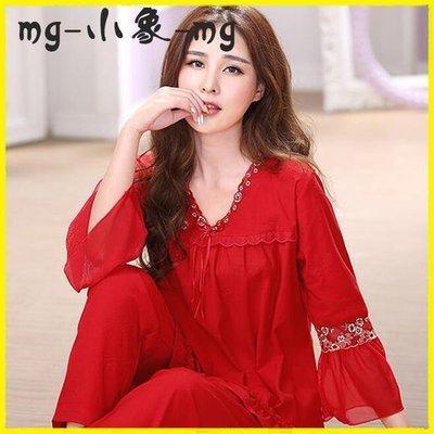 本命睡衣 紅色睡衣女秋冬季結婚純棉本命年長袖大紅寬寬鬆大碼全棉家居服套裝