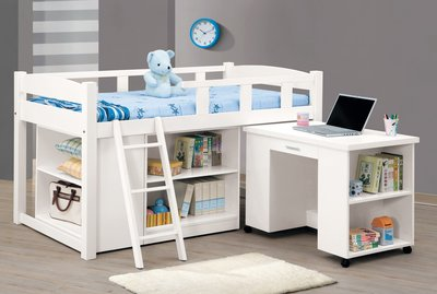 CH186-1 貝莎3.8尺白色多功能組合床全組/不含床墊/大台北地區/系統家具/沙發/床墊/茶几/高低櫃/1元起