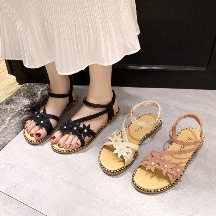涼鞋 仙女風涼鞋女2019夏季新款韓版百搭花朵小清新學生平底沙灘羅馬鞋