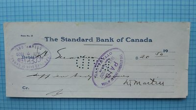 7353加拿大1920年老支票(百年前老支票)
