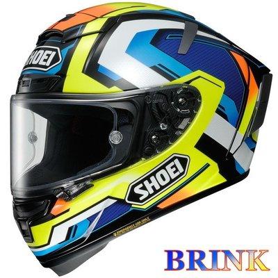 《鼎鴻》SHOEI全罩式頂級選手彩繪安全帽X-14 BRINK TC-10 黃藍