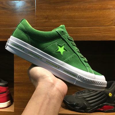 CONVERSE ONE STAR PINSTRIPE 白綠 麂皮 休閒運動鞋 男女鞋 159816C