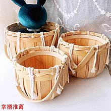 日式木片編織手提籃子桌面水果零食野餐面包蔬菜雞蛋藤竹編收納筐