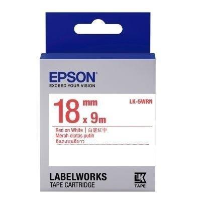 [哈GAME族]EPSON 標籤機色帶 LK-5WRN 白底紅字 18mm LW-400/500/700/900適用