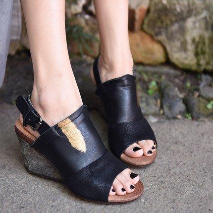 *菇涼家*原創歐美復古坡跟凉鞋女露趾羊皮高跟凉鞋新款
