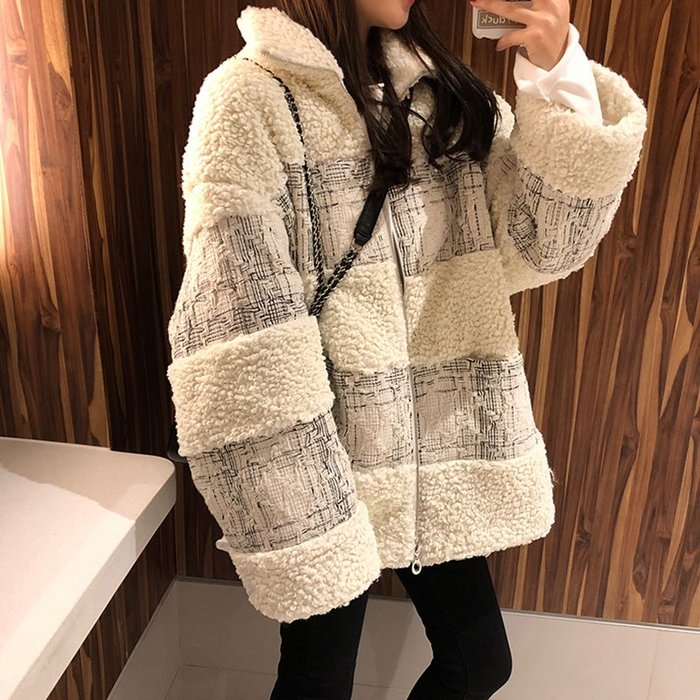 Marie Market♥ 韓國代購訂單 時尚holic羊羔絨外套 加厚短款 waitmore 百搭質感大衣