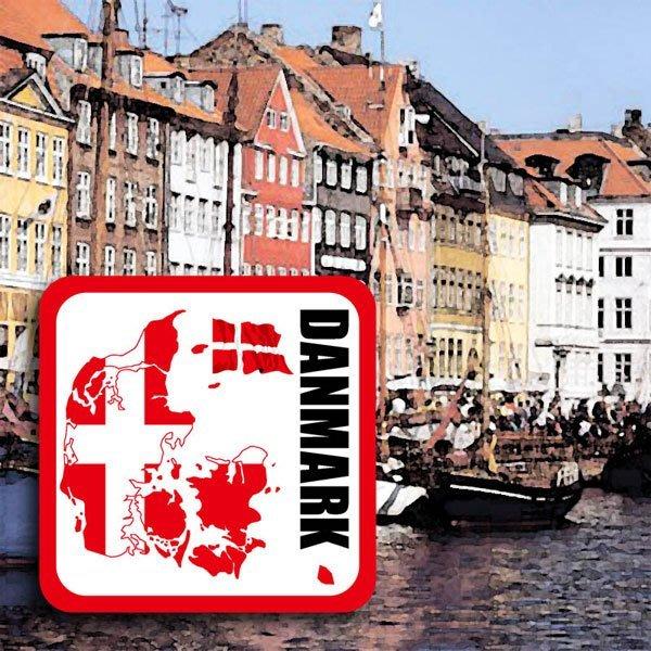 【國旗貼紙專賣店】丹麥國旗領土防水、抗UV行李箱貼紙/各尺寸、多國都有客製/Denmark