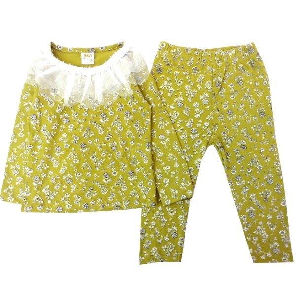 【班比納精品童裝】領蕾絲小碎花寶寶套裝-芥黃【BM150212002】