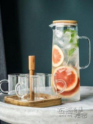 哆啦本鋪 北歐冷水壺家用裝水玻璃壺檸檬果汁壺涼水壺涼水杯水具套裝扎壺 D655