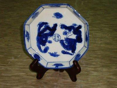 典藏台灣早期青花八角龍鳳小盤~~胎質細膩