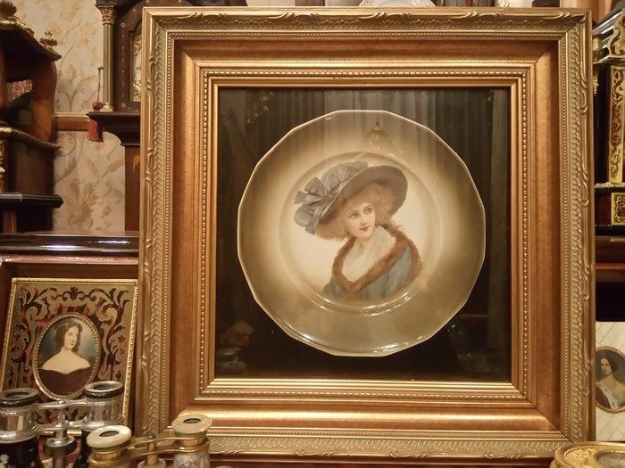 【家與收藏】特價稀有珍藏歐洲古董英國古典優雅仕女肖像限量瓷盤/飾盤掛畫