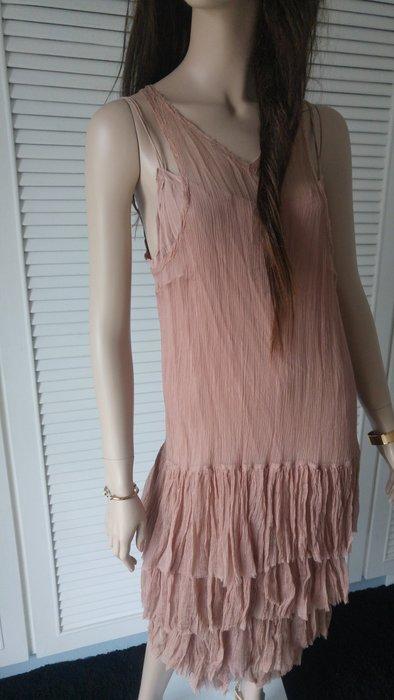 【lilith】100%純絲裸膚色層層蛋糕魚尾裙透膚洋裝+蛋糕披肩