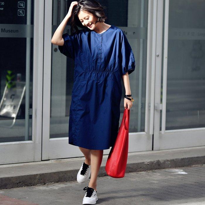 CHIC U 都市文藝通勤簡約純棉連身裙松緊收腰顯瘦連身裙燈籠袖中長裙