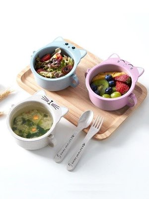 『OUNI優品』小麥秸稈兒童餐盤套裝幼兒園分格卡通寶寶防摔餐具飯碗筷滿天星OU598