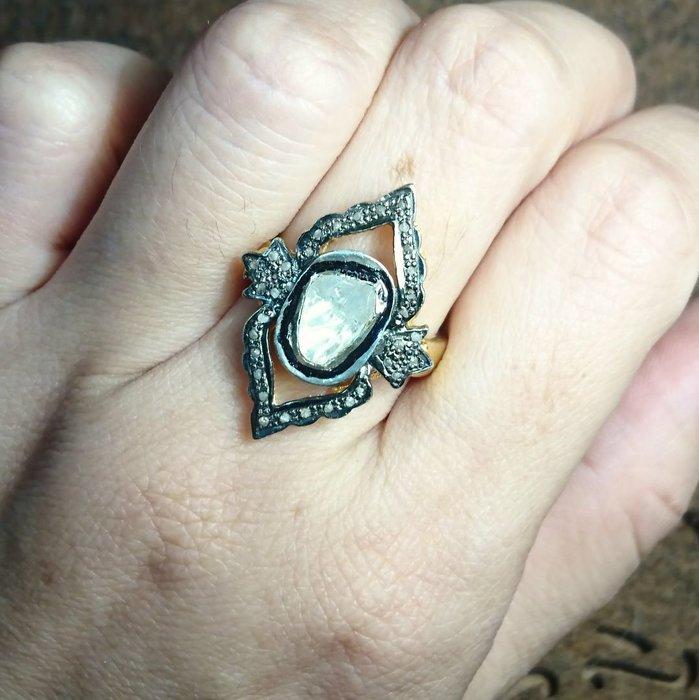 印度珠寶《甄藏》魔鏡印度老鑽石戒指925純銀戒檯鍍金