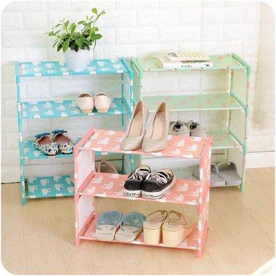 四層多彩印花圖案不锈鋼簡易 鞋櫃 兒童鞋架 置物架 DIY鞋架 多 收納架 置物櫃 書架 CD架