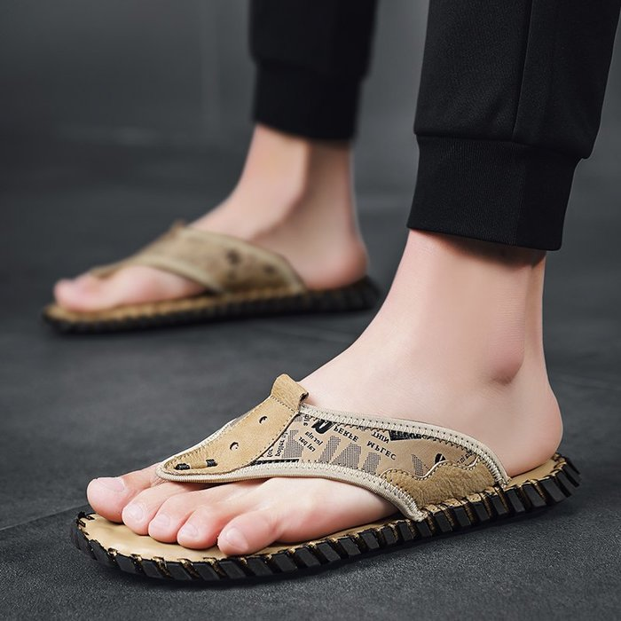 TIME&NES~人字拖男士休閒潮流拖鞋男2020新款軟底皮涼拖時尚外穿沙灘鞋涼鞋