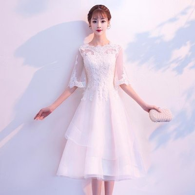 日和生活館 晚禮服女高貴優雅短版洋裝宴會派對主持人顯瘦伴娘服S686