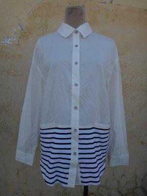 jacob00765100 ~ 正品 SNS SINGLE NOBLE 獨身貴族 白色 拼接條紋 造型襯衫 38