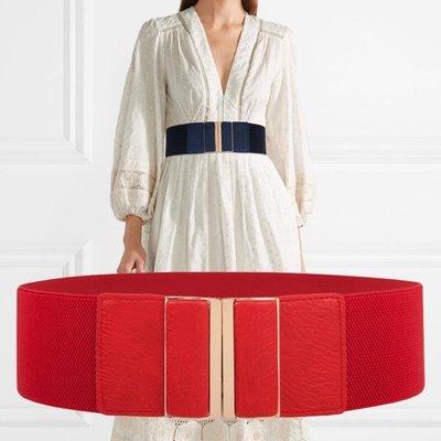 腰封簡約女士寬腰封鬆緊裝飾洋裝子寬腰帶...
