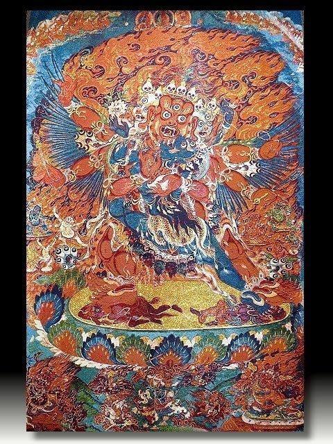 【 金王記拍寶網 】S834 中國西藏藏密佛像刺繡唐卡 刺繡 (大)一張 完美罕見~