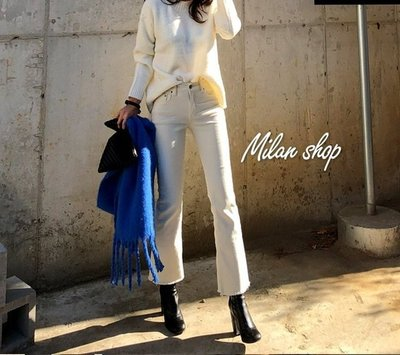 ☆Milan Shop☆網路最低價 正韓Korea獨家款 超好穿微刷毛彈性腰九分小靴型褲2色$880(免運)現貨 新北市