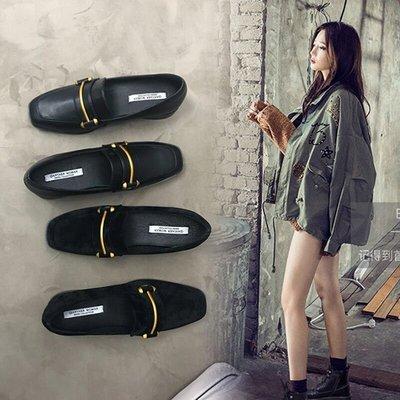 豆豆鞋女春季2018新款方頭小皮鞋女英倫風百搭平底單鞋懶人樂福鞋