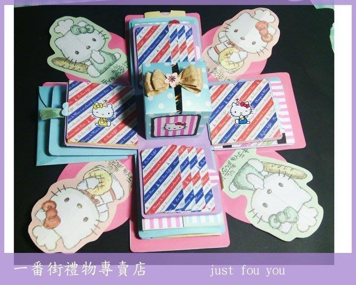 一番街*基本款KITTY禮物盒卡片*客製化,爆炸立體卡片, 情人節 新年卡片~生日禮物/可指定任何卡通圖案