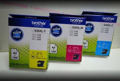 盒裝Brother LC535XL-Y/M/C(黃色/紅色/藍色)高容量墨水匣適用J100/J105/J200 (含稅)