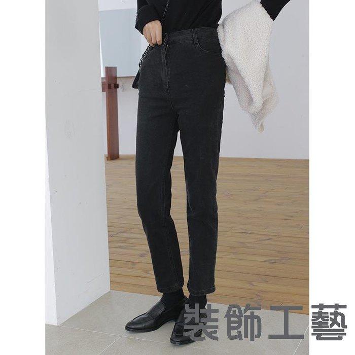 修身顯瘦水洗黑色高腰緊身牛仔褲韓國東大門錐形長褲