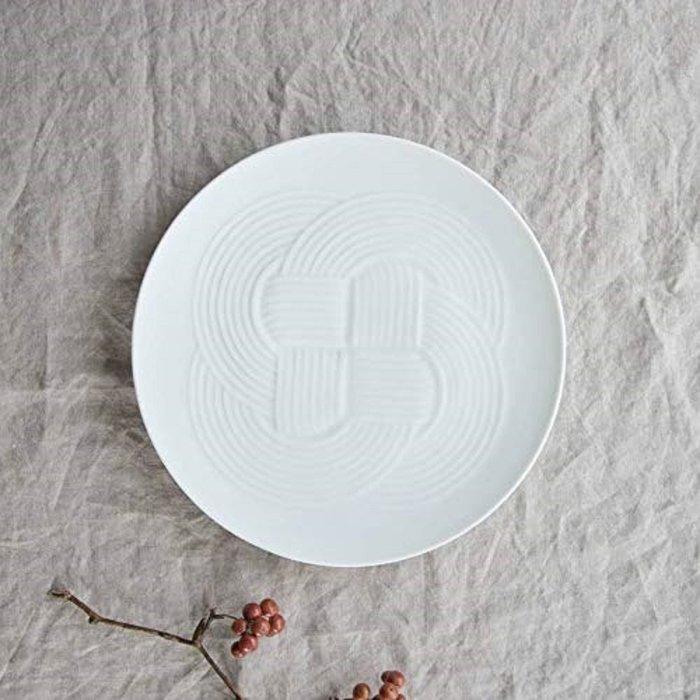 [霜兔小舖]日本代購 日本製 小田陶器 美濃燒 燒結款 大皿 白 圓盤 25.5 cm