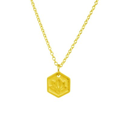 Dogeared 台北ShopSmart直營店 token of beginnings 完美六邊形金色項鍊 手工浮雕蓮花