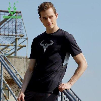 速干短袖t恤夏季男士透氣吸汗寬松彈力體恤戶外跑步健身運動上衣