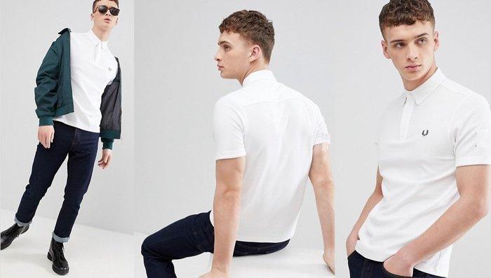 ◎美國代買◎ASOS代買Fred Perry經典logo裝飾純白色短袖polo衫~英倫潮牌街風~大尺碼