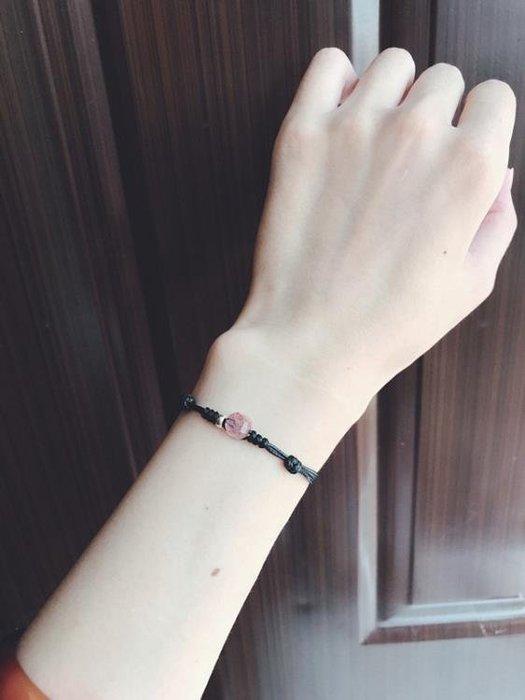 【免運】半苑香  天然招桃花草莓晶純銀925銀珠手鍊手 【愛購時尚館】