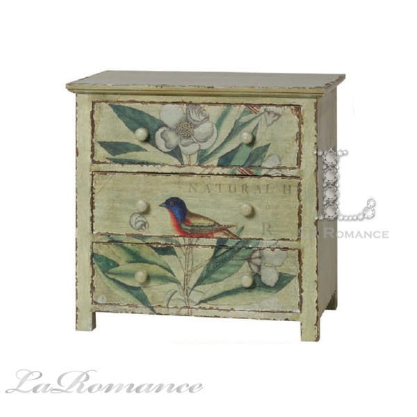 【Creative Home】Natural Elements 自然風情系列鳥語花香松木三抽櫃 / 床頭櫃