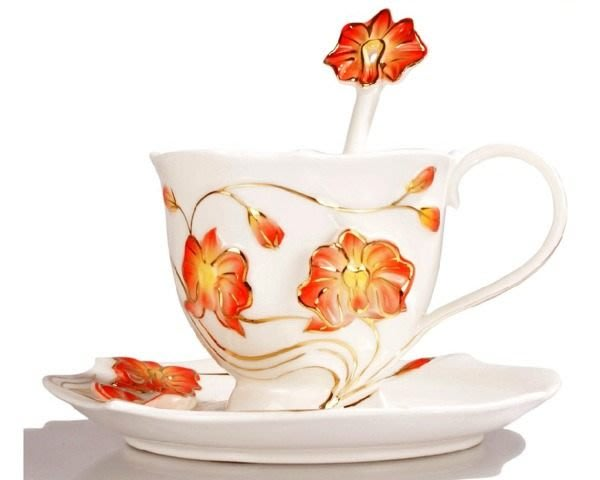 5Cgo【鴿樓】會員有優惠 琺琅瓷 22088476046 蘭花 立體花陶瓷杯盤匙 (一組) 花茶杯咖非杯下午茶貴婦